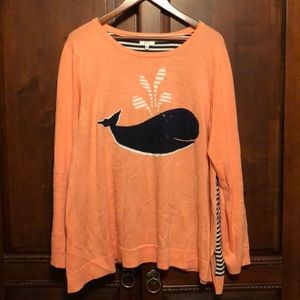 Crown and Ivy Pink Whale Long Sleeve Top- XL EUC